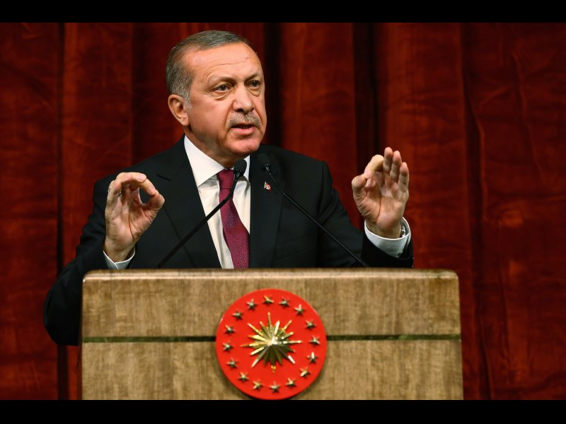 © AP Photo/Kayhan Ozer Presidential Press Service, via AP Pool, Turkey President Recep Tayyip Erdogan gives a speech commemorating those killed and wounded during a failed July 15 military coup, in Ankara, Turkey, Friday, July 29, 2016.