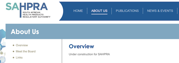 Sahpra Website Homepage