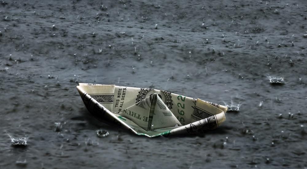 Złożony banknot dolarowy