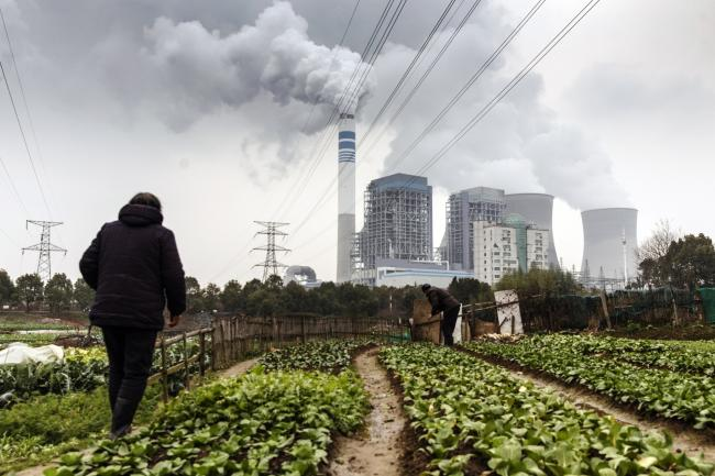 © Bloomberg. People tend to vegetables growing in a field as emission rises from cooling towers at a coal-fired power station in Tongling, Anhui province, China, on Wednesday, Jan. 16, 2019. China's economy expanded at its weakest pace since 2009, according to figures Monday, with gross domestic product rising 6.4 percent in the fourth quarter from a year earlier. Photographer: Qilai Shen/Bloomberg