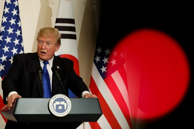 © Bloomberg. U.S. President Donald Trump speaks during a news conference with Moon Jae-in, South Korea's president, not pictured, at the presidential Blue House in Seoul, South Korea.