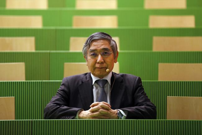 © Bloomberg. Haruhiko Kuroda, governor of the Bank of Japan (BOJ), poses for a photograph before delivering a speech at the University of Zurich in Zurich, Switzerland, on Monday, Nov. 13, 2017. Kuroda said the central bank can help avoid negative price shocks and achieve its 2 percent inflation target by working on inflation expectations through forward guidance. Photographer: Stefan Wermuth/Bloomberg