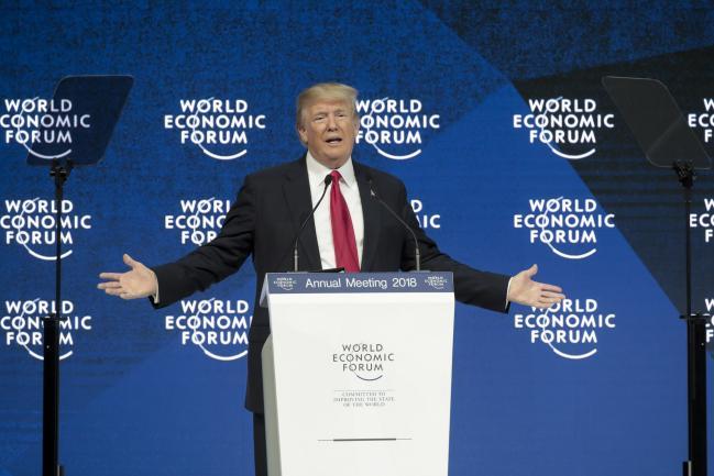© Bloomberg. Donald Trump in Davos in 2018. Photographer: Jason Alden/Bloomberg