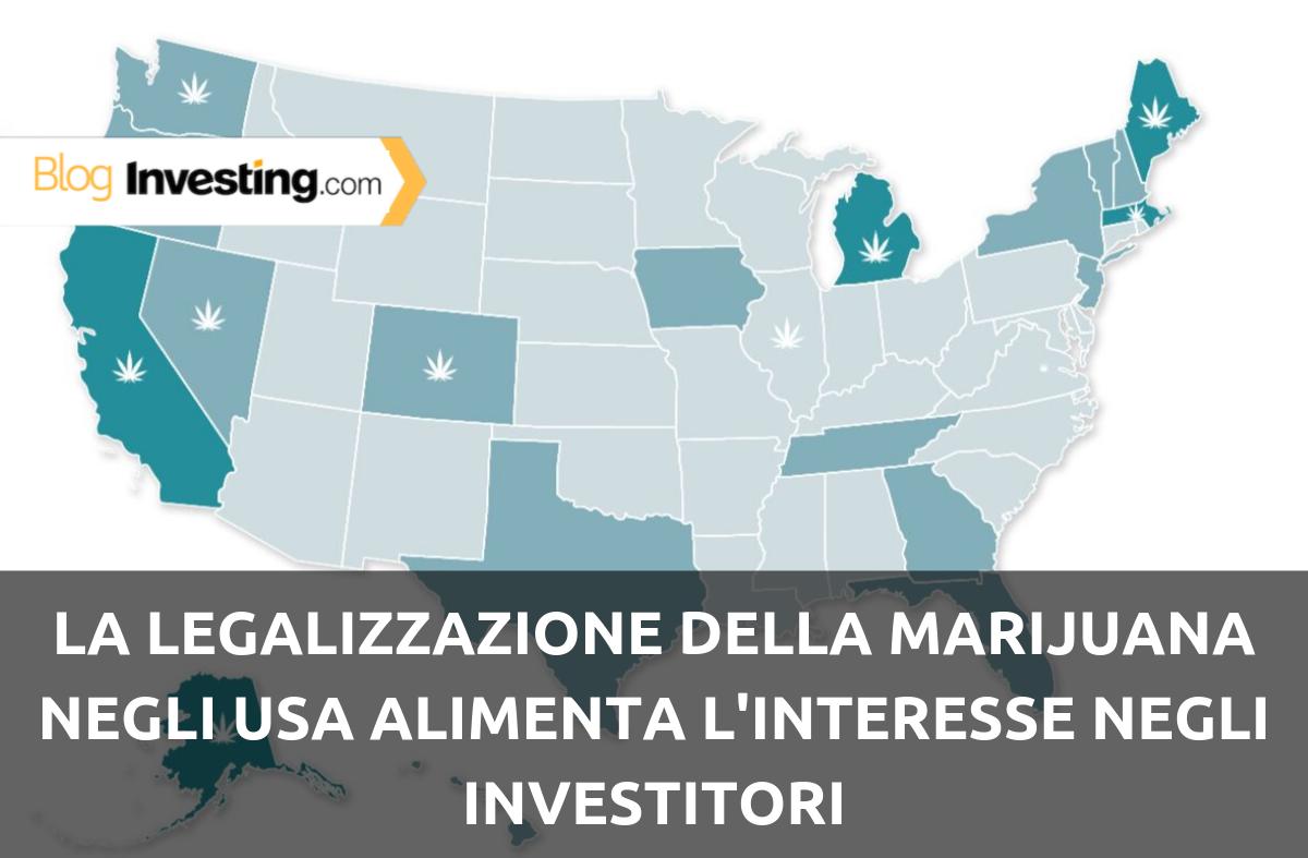 La legalizzazione della marijuana negli USA alimenta l'interesse negli investitori