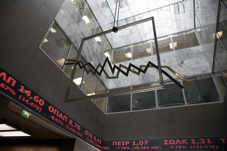 © Reuters.  Greece stocks higher at close of trade; Athens General Composite up 0.57%