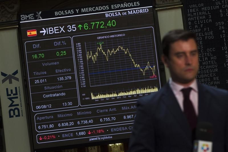 © Reuters.  Spain stocks higher at close of trade; IBEX 35 up 0.93%