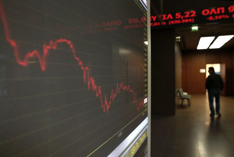 © Reuters.  Greece stocks lower at close of trade; Athens General Composite down 0.31%