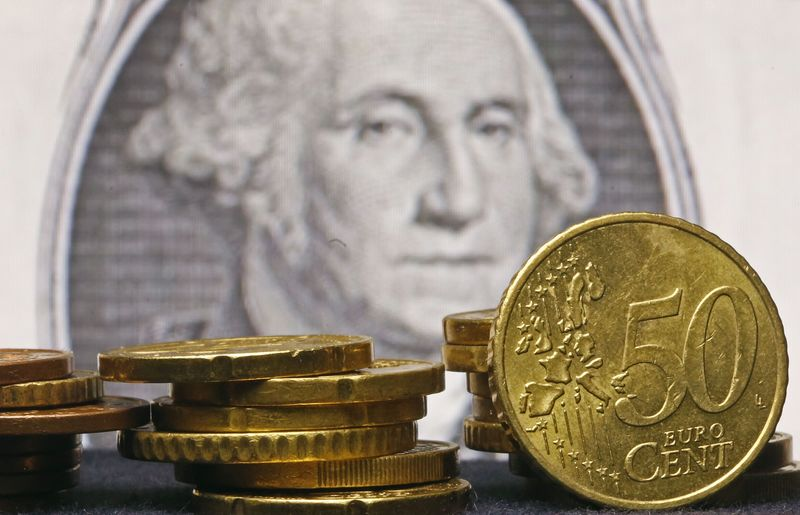 © Reuters.  Euro gains ground against weaker dollar