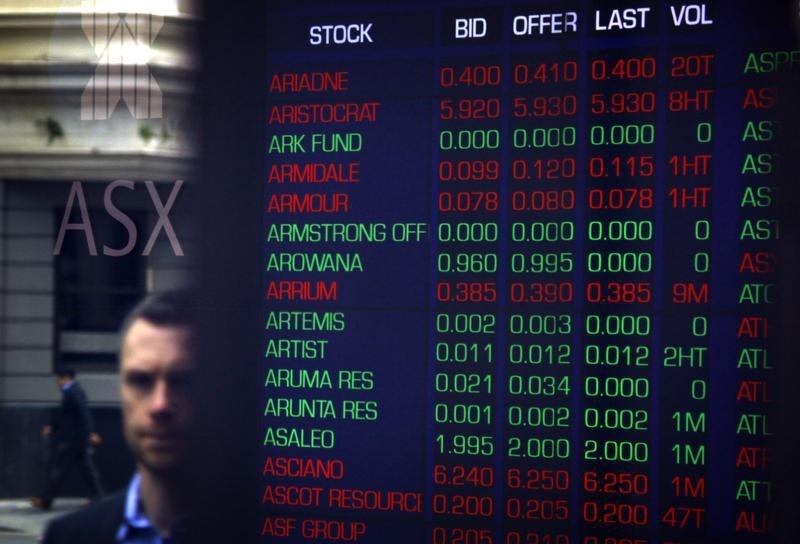 © Reuters.  Australia stocks lower at close of trade; S&P/ASX 200 down 0.11%