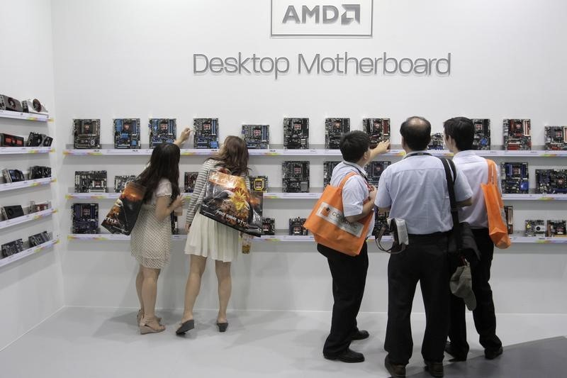 © Reuters. AMD shares jumped to record growth in data center revenues