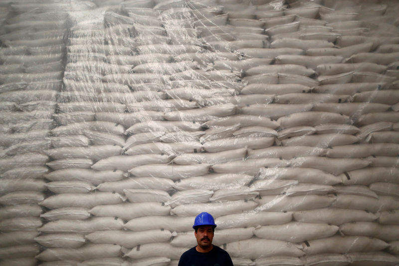 © Reuters.  SOFTS-Raw sugar futures ease as whites dip to five-week low