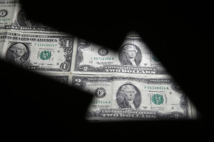 © Reuters.  FOREX-Dollar under pressure as U.S. yields fall; yen, euro gain