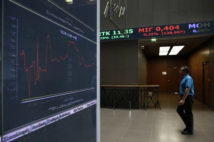 © Reuters.  Greece shares higher at close of trade; Athens General Composite up 0.31%