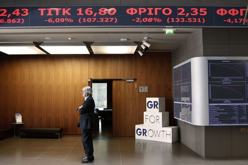 © Reuters.  Greece stocks lower at close of trade; Athens General Composite down 2.18%