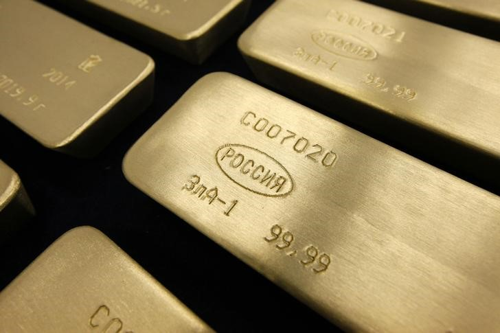 © Reuters.  Gold prices decline as Fed minutes send dollar higher