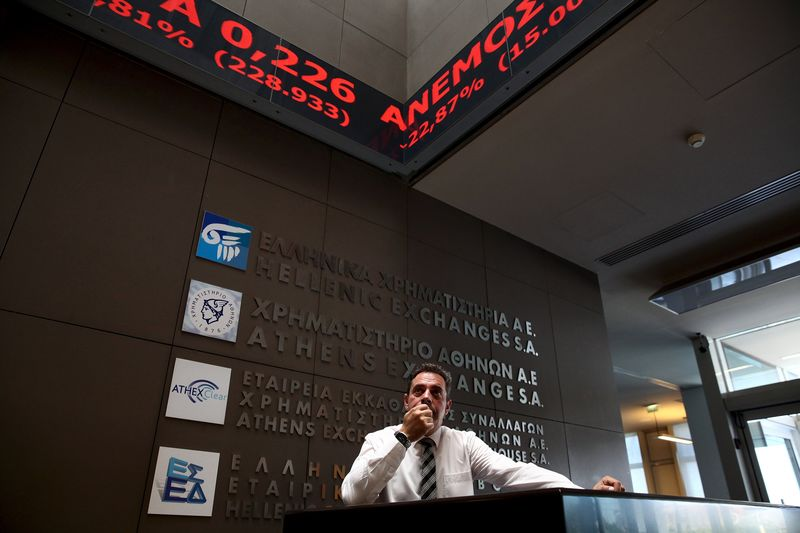 © Reuters.  Greece stocks higher at close of trade; Athens General Composite up 0.93%