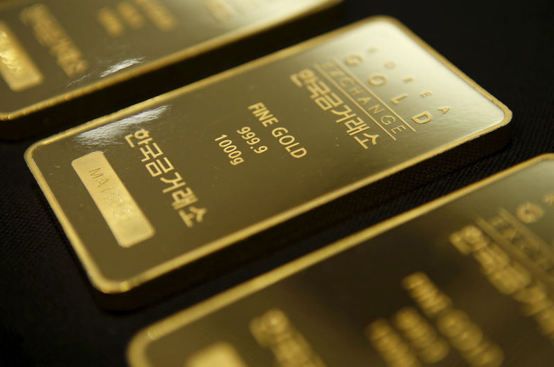 © Reuters.  Gold prices under pressure on U.S. dollar strength