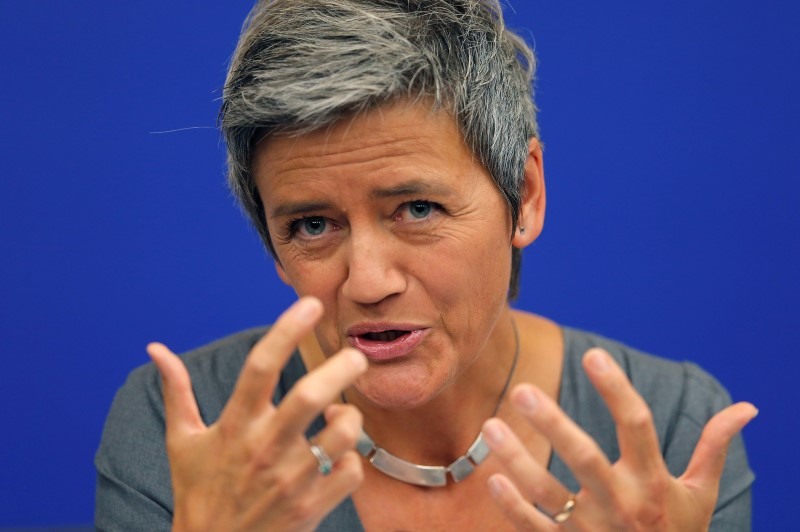 © Reuters.  Apple Takes on EU's Vestager in Record $14 Billion Tax Fight