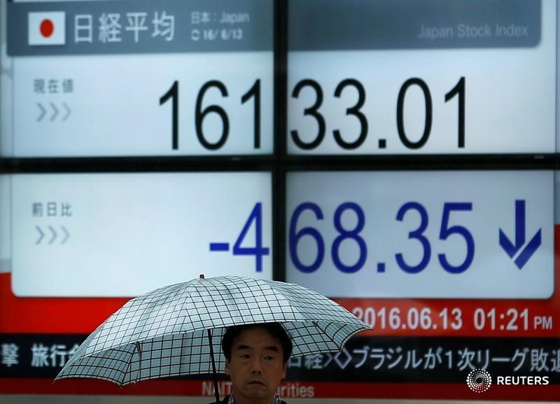 © Reuters.  Japan stocks lower at close of trade; Nikkei 225 down 0.53%