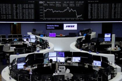 High-flying euro pushes down European shares