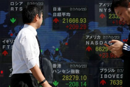 Asia shares slip on U.S. tax uncertainty, sterling falls on doubts over May