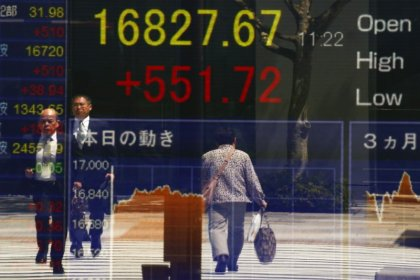 Asia shares take breather, Brent breaks above $65