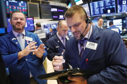 Wall Street flat as financials offset drag from Amazon, industrials