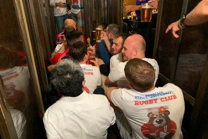 Japanese and Russian fans party before World Cup opener