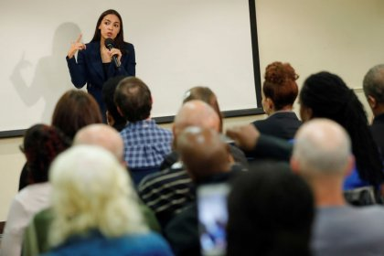 Ocasio-Cortez sells ambitious U.S. welfare legislation in home district