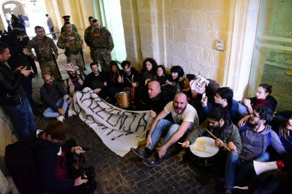 Activists storm into Maltese PM's office building
