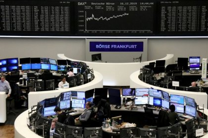 European shares fall from records on Unilever warning, hard Brexit