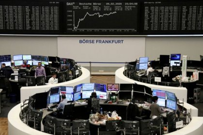European shares pause after record highs as virus fears grip