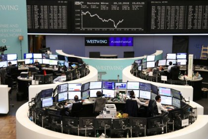 European shares fall as uncertainty prevails; tech, luxury hit