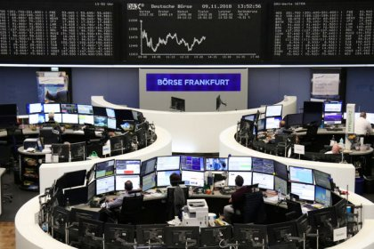 Oil finds floor, stocks ease, sterling braces for wild swings