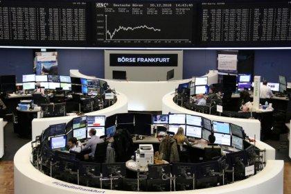 European shares falter as worst year since 2008 fades away
