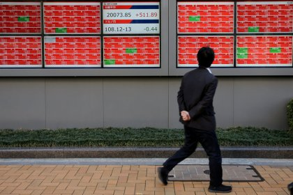 Asia shares up on Fed outlook, Aussie dollar seesaws after jobs data