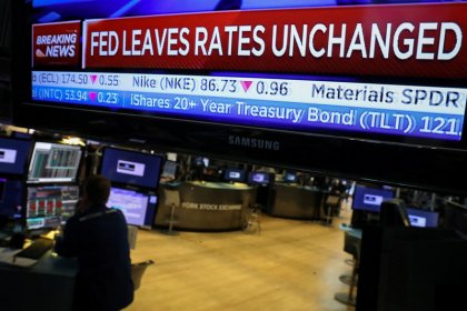 Financials weigh down Wall Street as Fed stays dovish