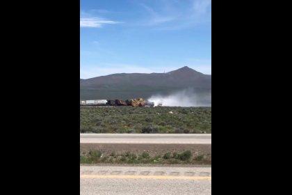 Train derails in Nevada, spilling vegetable oil, closing major highway