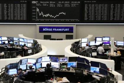 Chemical deals lift European shares, banks weigh