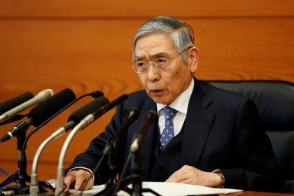 BOJ's Kuroda blames yen's fall on strong dollar, upbeat on economy