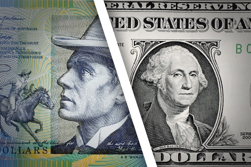 The Australian dollar trended down Monday as China released a raft of data