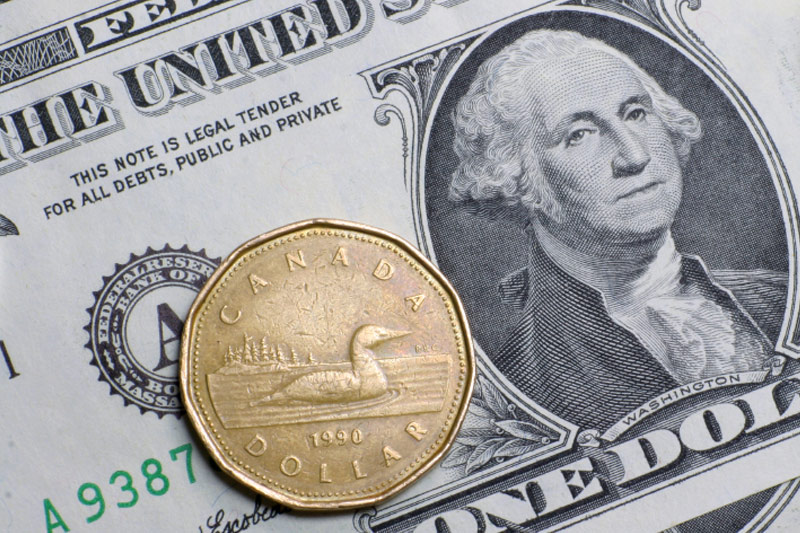 US dollar edges ddown to session lows against Canadian dollar