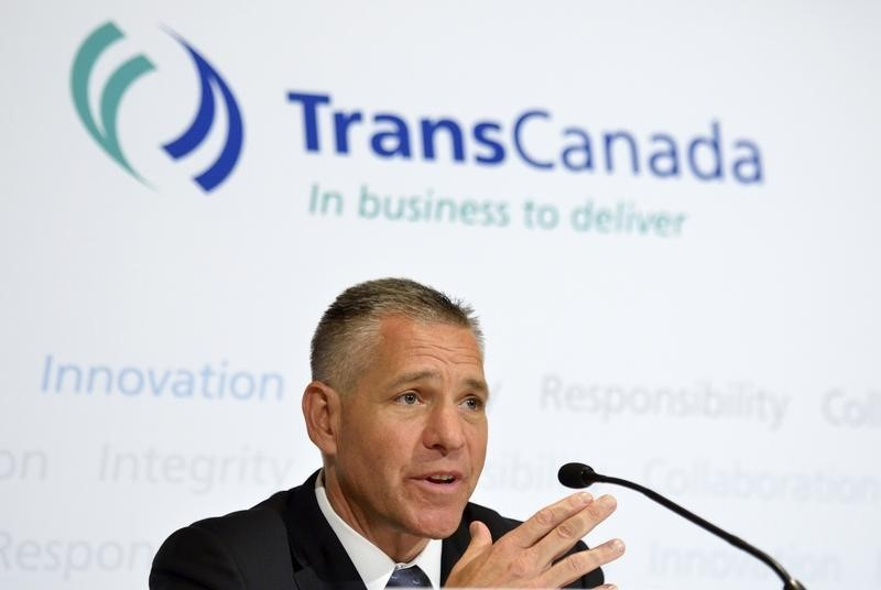 © Reuters TransCanada President and Chief Executive Officer Russ Girling addresses the media after the Annual General Meeting in Calgary, Alberta