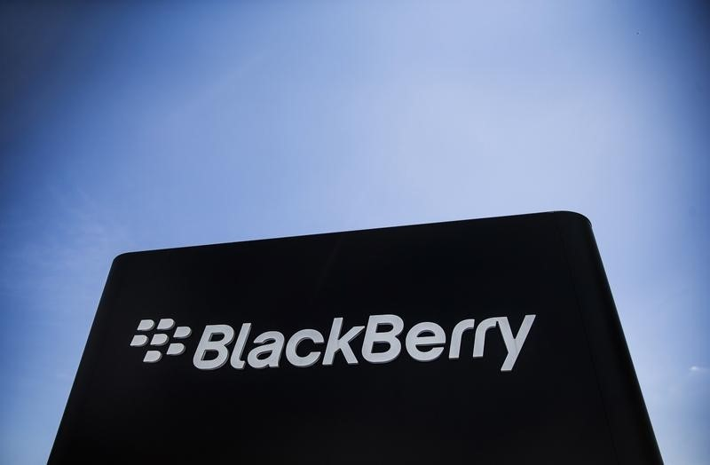 © Reuters. The Blackberry sign is pictured in Waterloo