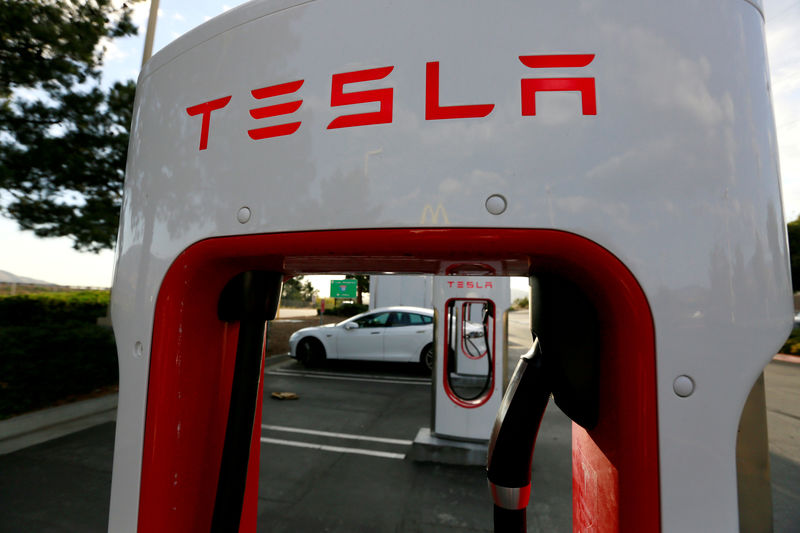© Reuters. FILE PHOTO - A Tesla Model S charges at a Tesla Supercharger station in Cabazon, California