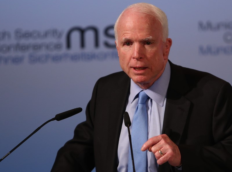 © Reuters. U.S. Senator McCain speaks at the opening of the 53rd Munich Security Conference in Munich