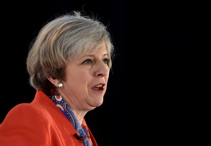 Britain's Prime Minister Theresa Maу speaks at the Conservative Partу's Spring Forum in Cardiff, Wales