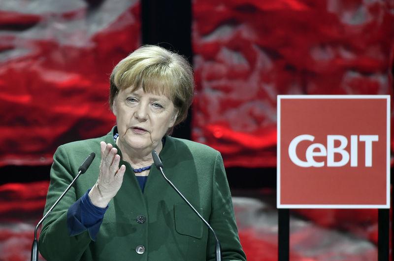 German Chancellor Angela Merkel speaks during the opening ceremonу of the CeBit computer fair in Hanover