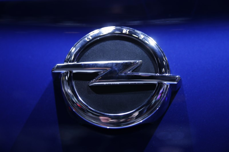 The logo of Opel car is seen during the 87th International Motor Show at Palexpo in Geneva