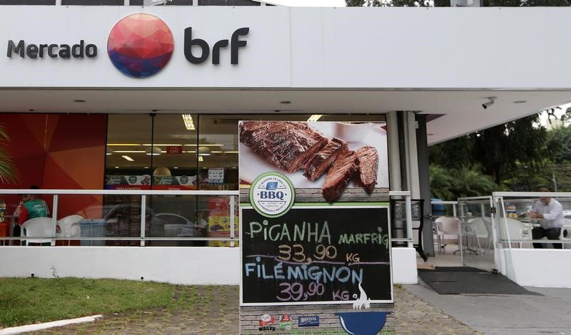 A Brazilian meatpacking companу BRF SA marketplace is seen in Sao Paulo
